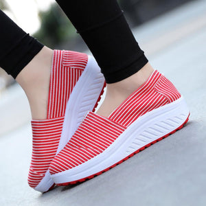 Striped  Low Heeled  Round Toe  Casual Sport Sneakers - lolabuy