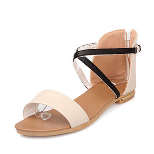 Casual Pure Color Cross Straps Zipper Sandals - lolabuy