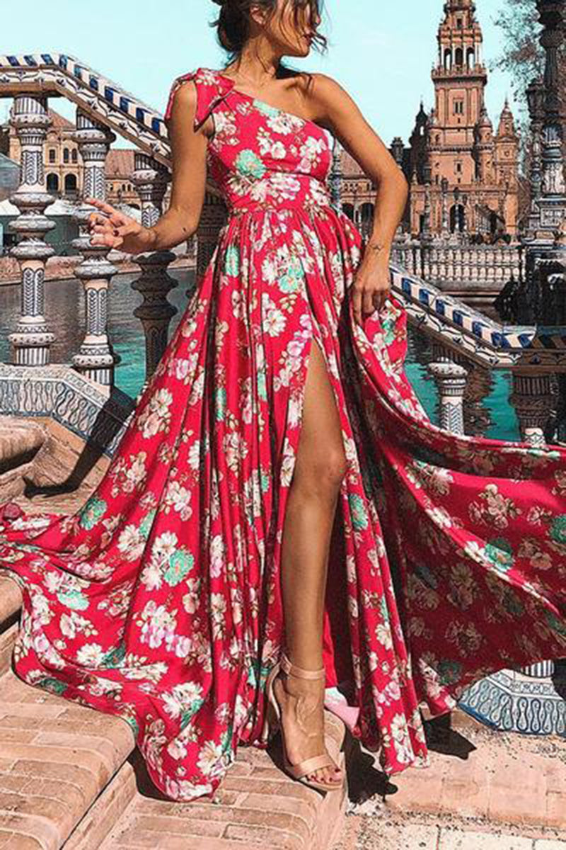 Sexy Floral One Shoulder Vocation Maxi Dress - lolabuy