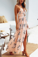 Halter  Backless High Slit  Floral Printed  Sleeveless Maxi Dresses - lolabuy