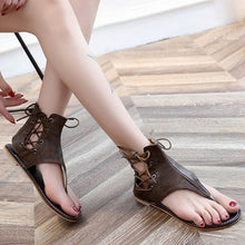 Lace-Up PU Flip-Flops Sandals With Zipper Woman Shoes - lolabuy