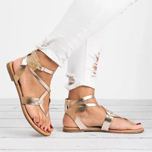 Large Size Adjustable Buckle Flat PU Sandals Woman Shoes - lolabuy
