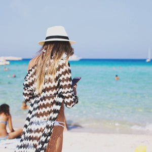 Sexy Black And White Wave Pattern Beach Bikini Smock - lolabuy