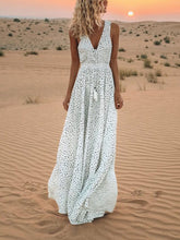 V-Neck Printed Polka Dot Bohemian Maxi Dress - lolabuy