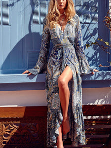 Deep V Collar Long Sleeve Bohemia Beach Dress