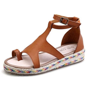 Micro Leather Adjustable Buckle Casual Sandals - lolabuy
