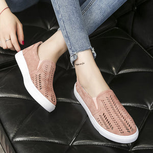 Casual Faux Suede Hollow-Out Slip On Loafers - lolabuy
