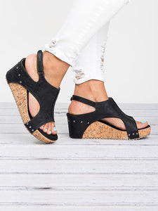 Women's Peep Toe PU Blocking Hook-Loop Wedge Sandals - lolabuy
