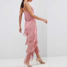V-Neck White Pink Tassel Maxi Dress - lolabuy