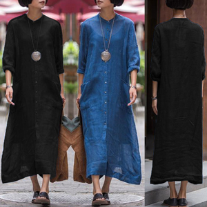 Evening Party Buttons Oversize Maxi Dress - lolabuy