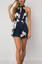 Halter  Backless  Floral  Playsuits - lolabuy