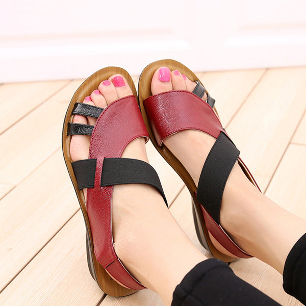 Opened Toe Breathable Hollow Out Shoe Slip On Leather Flat Sandals - lolabuy