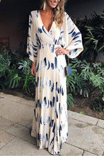 Sexy Floral Print Long Sleeves Vacation Maxi Dress