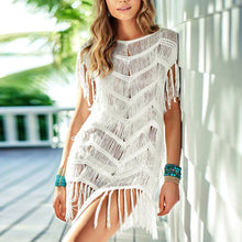 Pure Color Knitting Tassel Beachwear - lolabuy