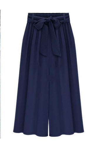 Thin Solid Color Beam Waist Wide Leg Pants
