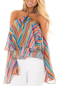 Sexy Halter Colored Stripe Printing Chiffon Shirt