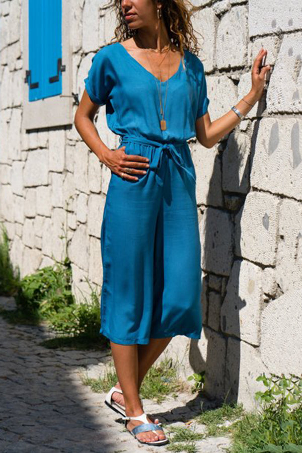 Blue Fashion Short Sleeves Maxi Dress Jumpsuit - lolabuy