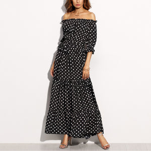 Sexy Off Shoulder Haif Sleeves Maxi Dress - lolabuy