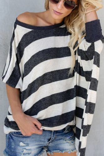 Round Neck  Striped  Batwing Sleeve T-Shirts - lolabuy