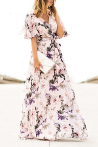 Sexy Short Sleeves Floral Print Vacation Maxi Dress - lolabuy