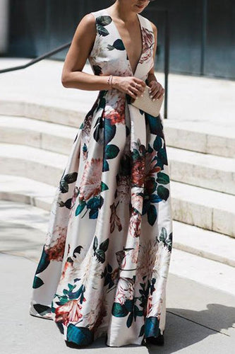 Stylish Floral Print Sleeveless Maxi Dress - lolabuy
