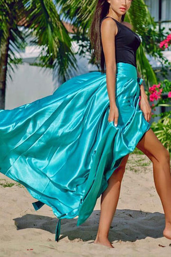 Casual Pure Color Split Beach Skirt - lolabuy