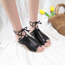 Casual Flat Open Toe Rivets Ties Sandals - lolabuy
