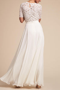 Fashion White Half Sleeves Wedding Maxi Dress - lolabuy