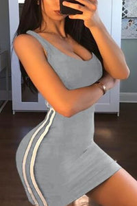 Round Neck  Vertical Striped  Sleeveless Bodycon Dresses