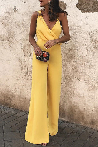 Sexy Fashion Yellow Sleeveless Jumpsuit - lolabuy