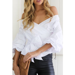 Sexy V-Neck Backless Cross Strappy Shirt - lolabuy