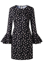 Round Neck  Dot  Bell Sleeve  Long Sleeve Casual Dresses - lolabuy