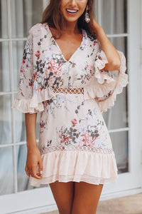 Sexy Flounce Floral Print Mini Dress - lolabuy