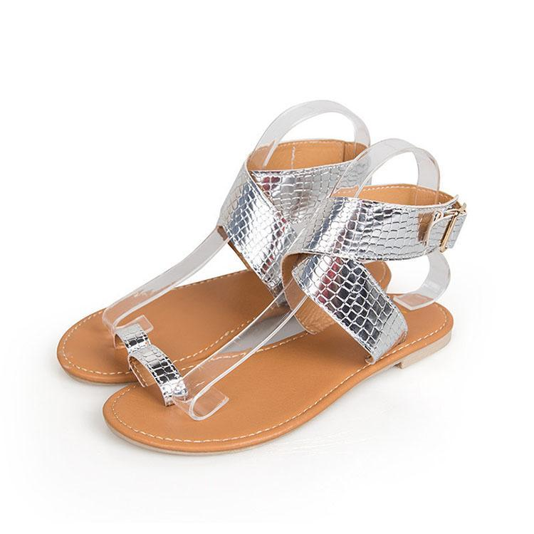 Fashion Pure Color Open Toe Flat Beach Sandals - lolabuy
