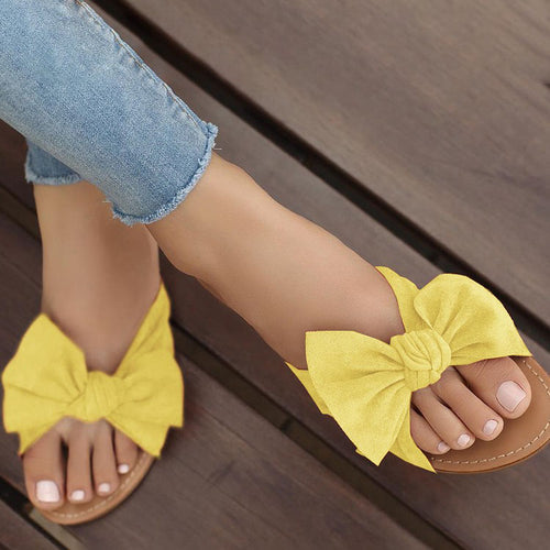 Sweet Pure Color Bow-Knot Flat Sandals