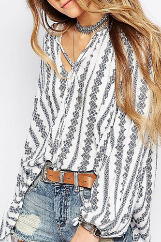 V Neck  Stripes  Lantern Sleeve  Blouses - lolabuy