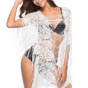 Sexy White Lace Tassel Hollow Beachwear - lolabuy