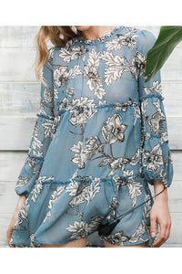 Fashion Loose Round Collar Floral Printed Shift Dress - lolabuy