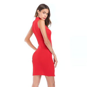Sexy Slit Blinding Elastic Knit Sleeveless  Bodycon Dress - lolabuy