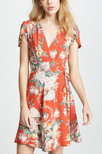 Fashion V Collar Floral Printed Belt Skater Dress - lolabuy