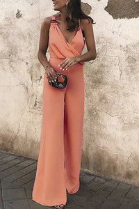 Sexy Fashion Plain Sleeveless Jumpsuit - lolabuy