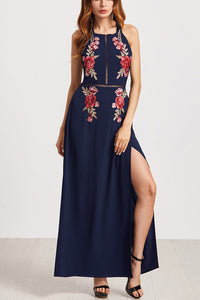 Sexy Backless Embroidery Slit Maxi Dress - lolabuy