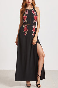 Sexy Backless Embroidery Slit Maxi Dress