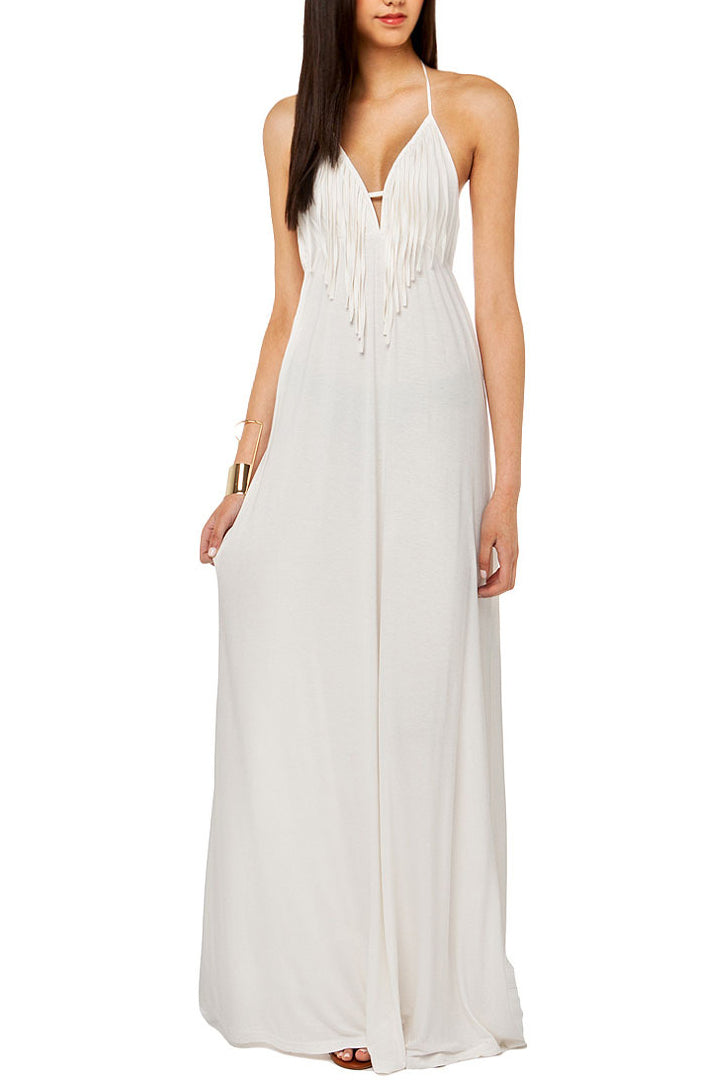 Sexy Deep V Collar Backless Fringe Maxi Dress - lolabuy