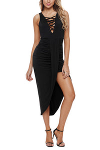 Sexy Deep V Collar Cross Strap Maxi Evening Dress - lolabuy