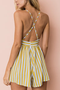 Fashion Yellow Sleeveless Stripe Romper - lolabuy