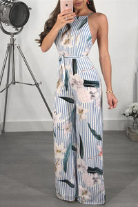 Summer Casual Floral Printed Sling Backless Stripe Wide Leg Jumpsuit