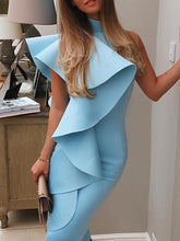 Sexy Halter One Shoulder Flouncing Bodycon Dress