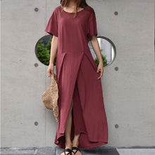 Pure Color Splited Irregular Short Sleeve  Maxi Dresses - lolabuy