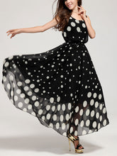 Fashion Defined Waist Black White Dot Full-Length Maxi Dress